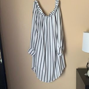 Black and white striped off the shoulder dress